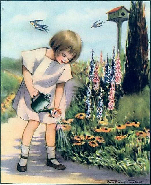 Girl watering flowers in the garden Mark 4:26-29