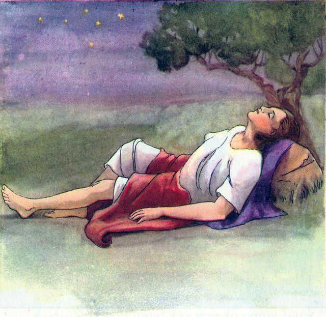 Jacob sleeps at Bethel using a rock to support his head Genesis 28:11
