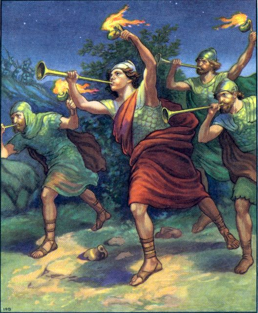 Gideon's army with torches and trumpets Judges 7:20