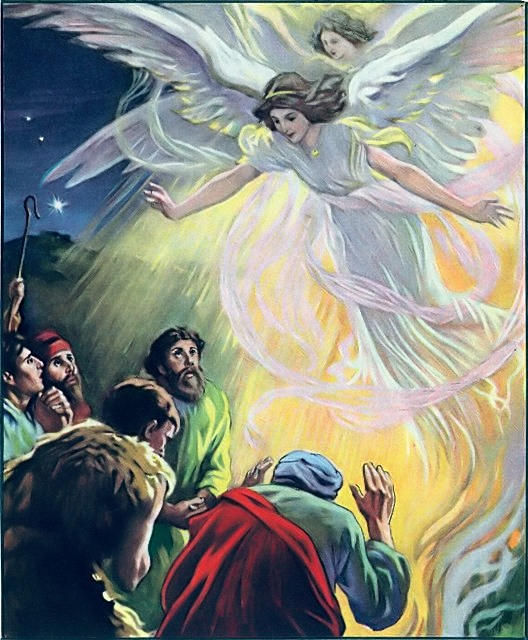 A multitude of angels praising the Savior's birth Luke 2:13