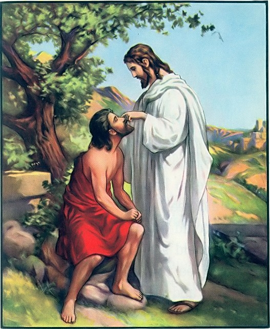 Jesus annoints the blind man's eyes with clay John 9:6