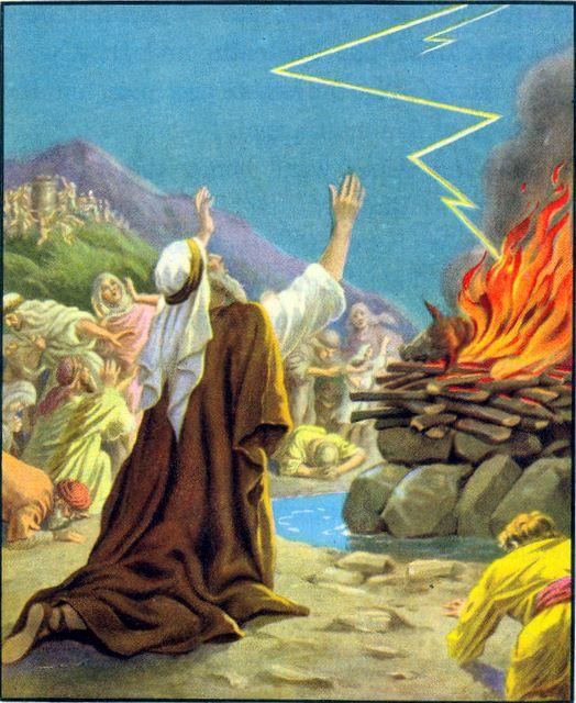 God answers Elijah's prayer and lights the sacrifice I Kings 18:31-38