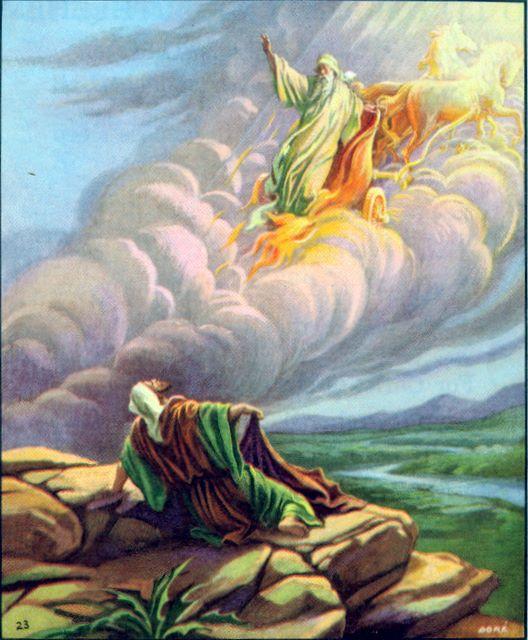 Elisha watches as Elijah is taken up in a whirlwind II Kings 2:11-13