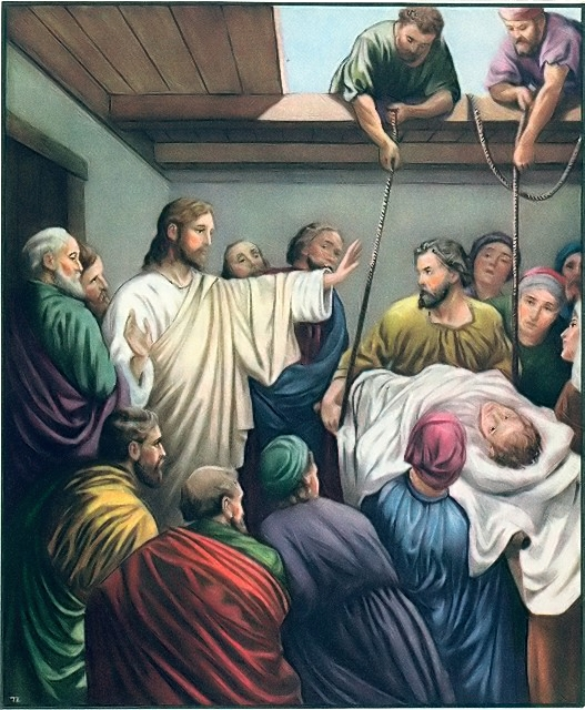 Jesus heals a paralytic man lowered from the roof Mark 2:1-12
