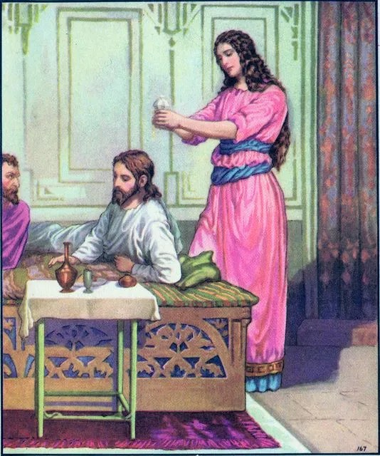 A woman pours oil on Jesus' head Matthew 26:7