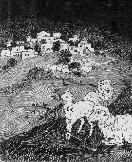 Sheep in the Fields at Night Luke 2:8