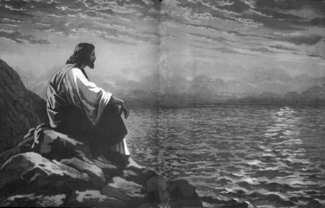 Jesus on a mountain by the Sea of Galilee Matthew 15:29