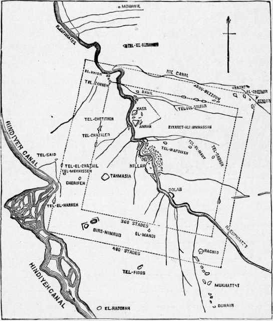 Chart of the country round Babylon with limits of the ancient city (according to Oppert) Daniel 5:31