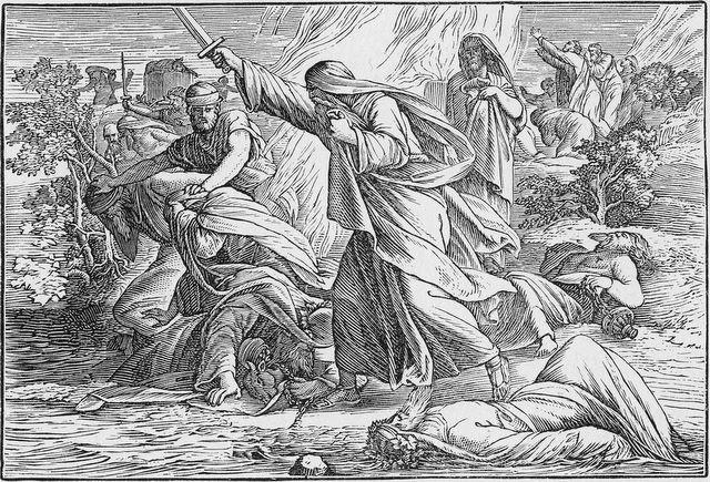 Elijah slaying the prophets of Baal I Kings 18:39-40