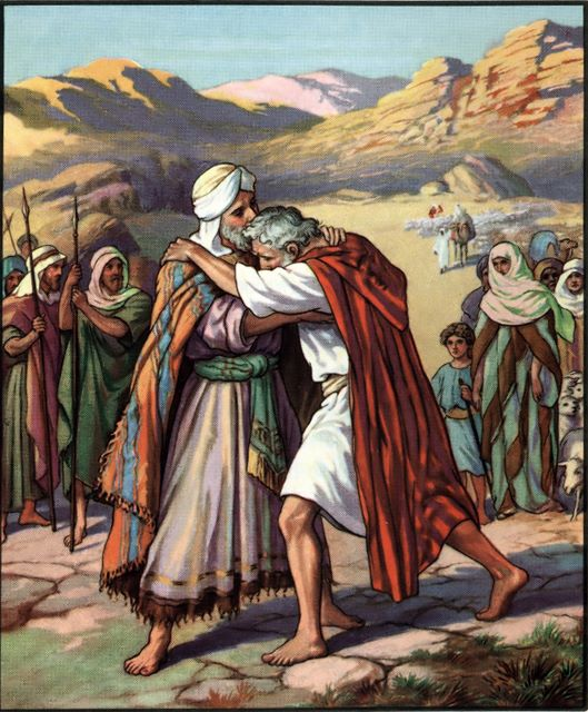 Jacob and Esau meet Genesis 33:4