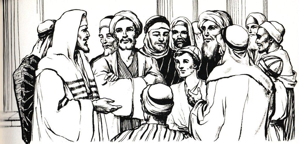 Jesus talking with the teachers at age twelve (Luke 2:46)