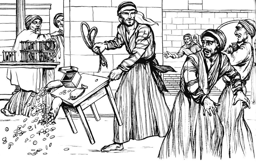 Jesus drives out the money-changers and the merchants from the Temple (Mark 11:15-16)