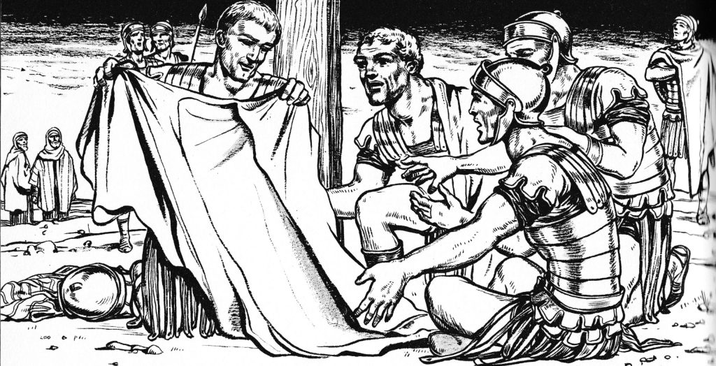 Soldiers divide Jesus' garments (John 19:23-24)