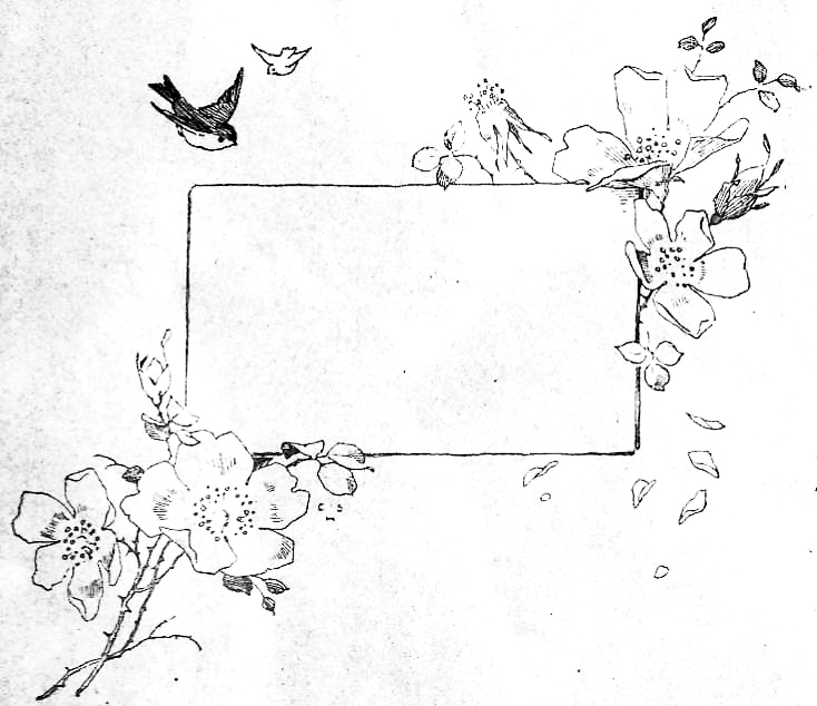 Name Plate Illustration of birds and old-fashioned roses