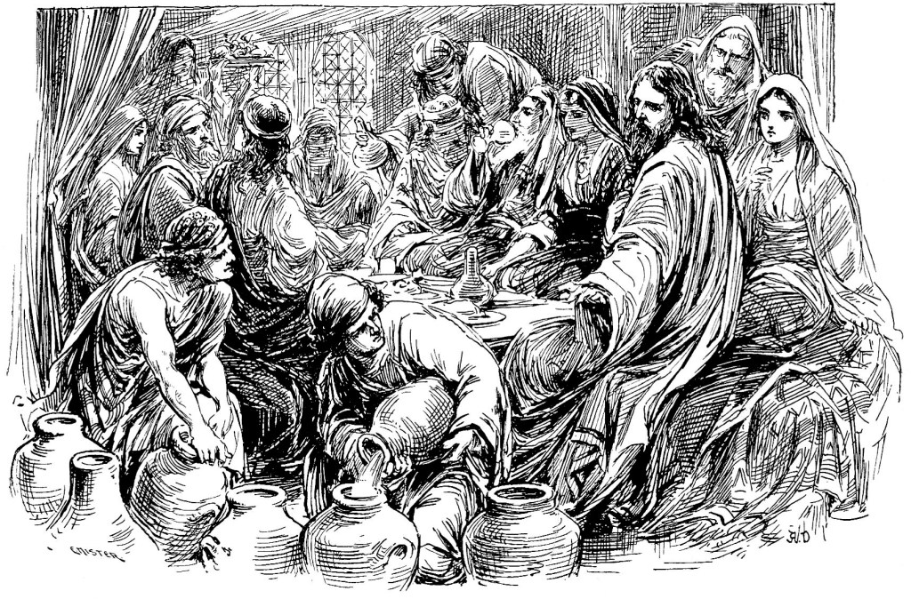 Jesus turns water to wine at a wedding feast - John 2:6-8