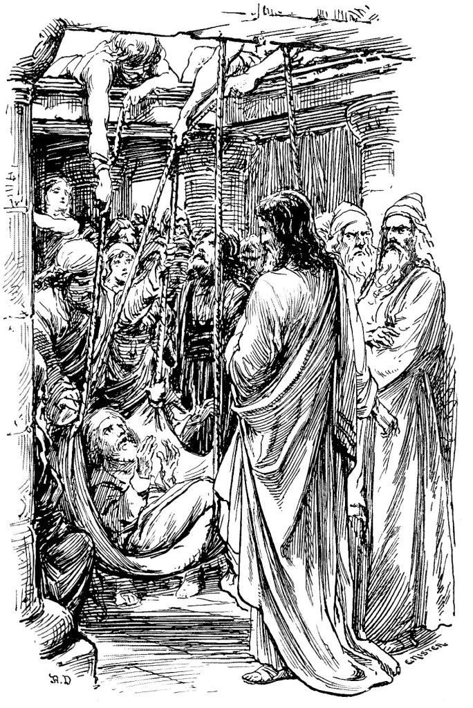 Healing of the paralytic man lowered from the roof - Luke 5:18-20