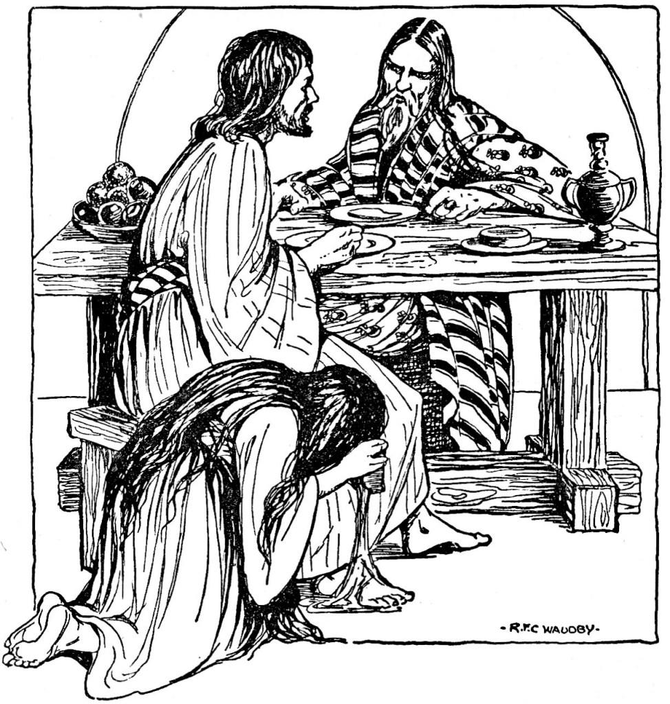 Woman anoints Jesus' feet (Luke 7:38)