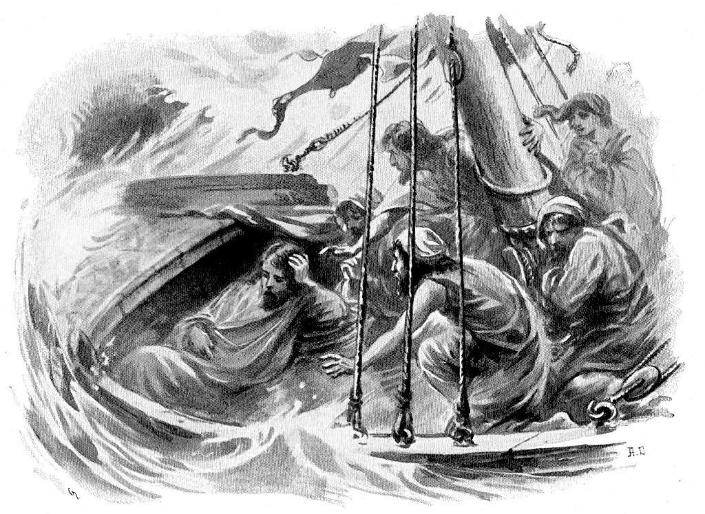 Jesus sleeps during a storm at sea - Matthew 8:24