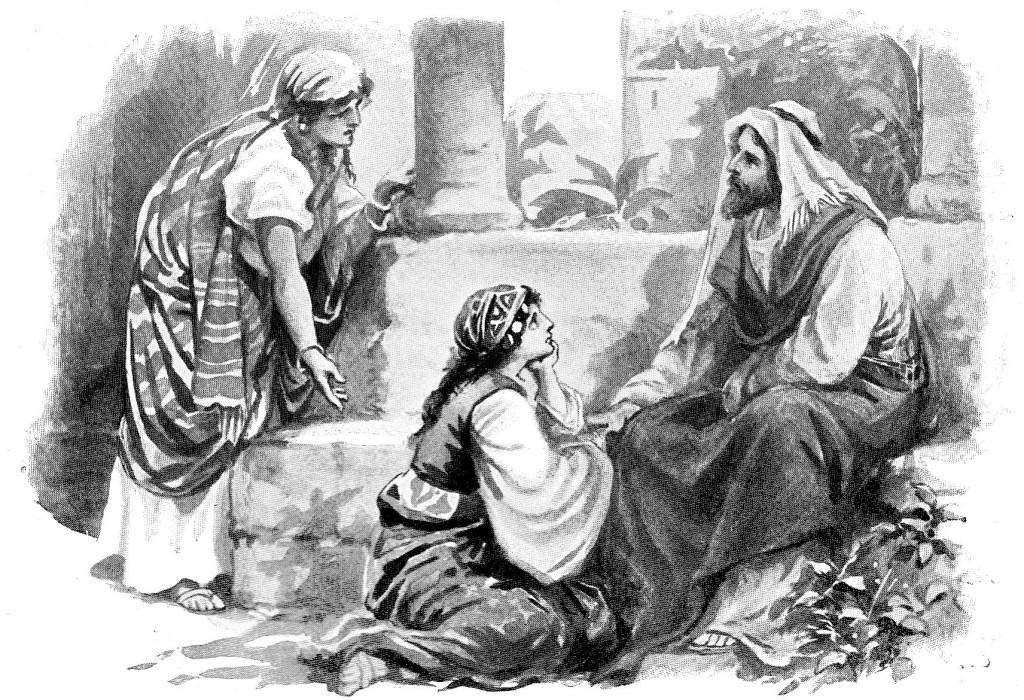 Martha serves while Mary listens to Jesus' teachings - Luke 10:38-40