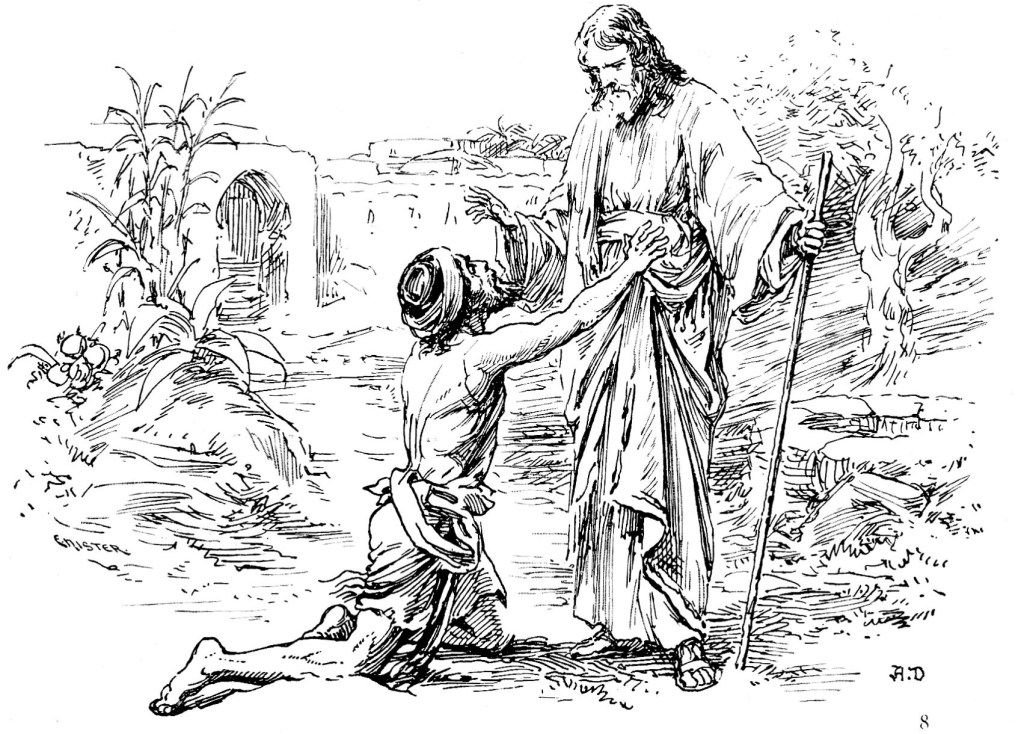 Jesus meets the former blind man after his trial - John 9:35-38