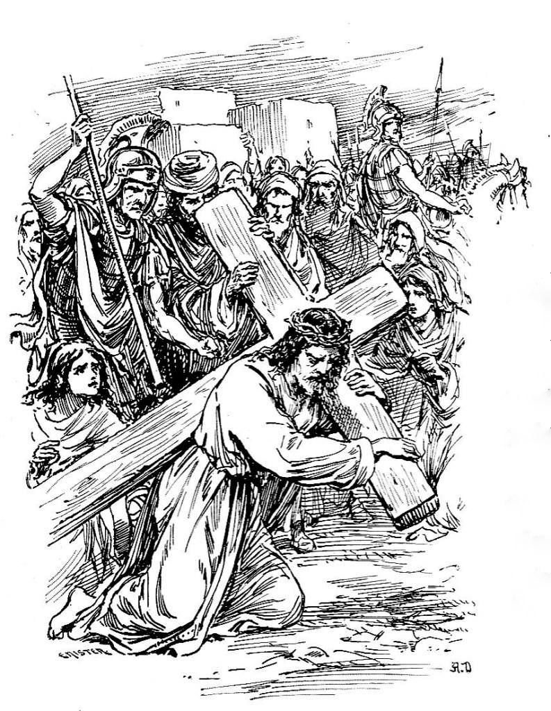 Simon ordered to help Jesus carry his cross - Mark 15:21