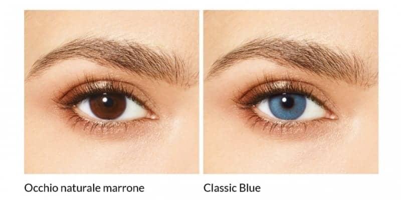 Lenti a contatto colorate Desìo occhio marrone naturale con lente a contatto Classic Blu