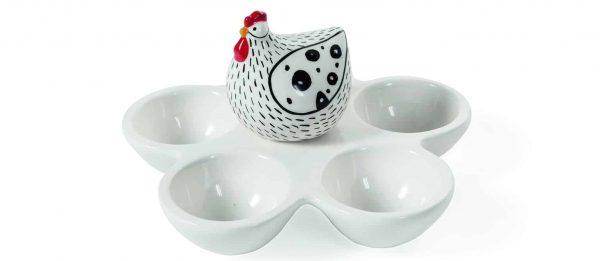 Decorazioni per la tavola Pasqua 2020 Porta Uova con Galline in porcellana