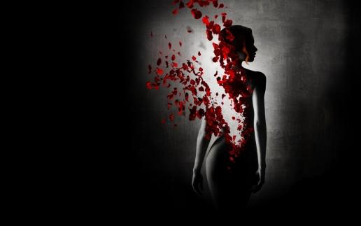 Black-background-girl-reincarnation-dilution-rose-petals-wallpaper