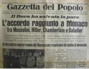 """La prima pagine de """"La Gazzetta del Popolo"""" successiva alla Conferenza di Monaco del 1938"""