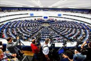 Aula di Strasburgo dove si svolgono le sessioni plenarie del Parlamento Europeo