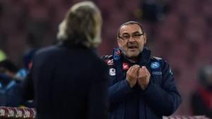 Maurizio Sarri (59), allenatore dell Napoli SSC e Roberto Mancini (51) allenatore dell' FC Internazionale, immortalati nel pieno del diverbio che ha scatenato tante polemiche negli ultimi giorni
