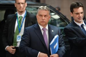 epa04717669 Hungarian Prime Minister Viktor Orban arrives at an EU Summit in Brussels, Belgium, 23 April 2015. The leaders of the European Union meet in Brussels to tackle an escalating migration crisis and the daily arrival of hundreds of would-be asylum seekers and migrants crossing the Mediterranean. EPA/STEPHANIE LECOCQ