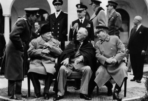In the grounds of the Livadia Palace, Yalta, during the Three Power Conference the British wartime Prime Minister Sir Winston Leonard Spencer Churchill (1874 - 1965), the 32nd President of the United States of America Franklin Delano Roosevelt (1882 - 1945) and the Soviet leader Joseph Stalin (1879 - 1953) (Iosif Vissarionovich Dzhugashvili). (Photo by Keystone/Getty Images)