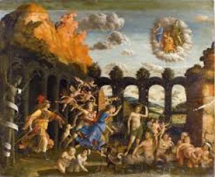 """Dipinto """"Il trionfo della virtù"""" di Andrea Mantegna (1502)."""