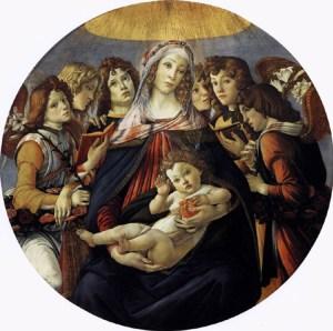 Sandro Botticelli, Madonna della Melagrana (1487, tempera su tavola, 143,5×143,5 cm, Galleria degli Uffizi, Firenze)