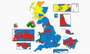Una mappa dei risultati in tutto il Regno Unito