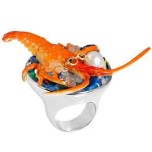 Mostra gioielli anello-aragosta