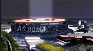 Il progetto del nuovo stadio. Nell'altra foto Paolo Berdini