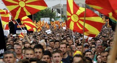 Manifestazioni popolari in Macedonia