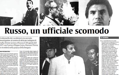 La notizia dell'assassinio del colonnello Giuseppe Russo