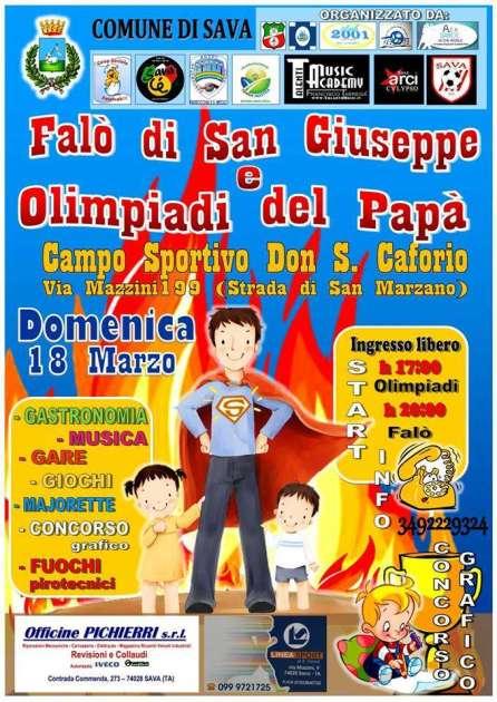 """Sava 18 Marzo, II edizione de il """"Falò di San Giuseppe e le Olimpiadi del papà"""""""