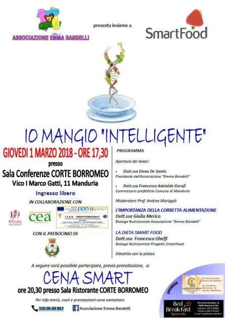 """Giovedì 1 marzo a Manduria, conferenza """"Io Mangio Intelligente"""" e a seguire """"Cena Smart"""""""
