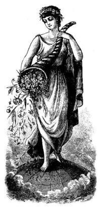 La cornucopia raffigurata in una incisione del sec. XIX