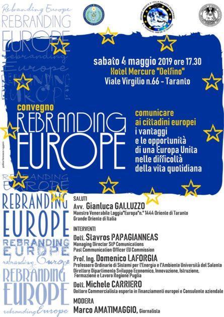 """A Taranto il convegno """"Rebranding Europe"""""""