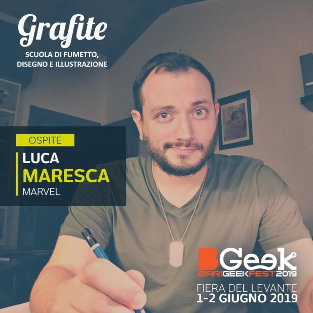 Grafite al BGeeK 2019 con Luca Maresca firma della Marvel