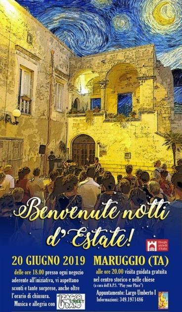 """20 Giugno: """"Benvenute notti d'Estate!"""". Musica, shopping, gusto e visite guidate a Maruggio"""