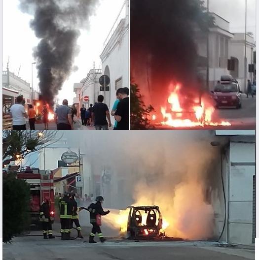 Campomarino di Maruggio - Auto in fiamme per autocombustione.