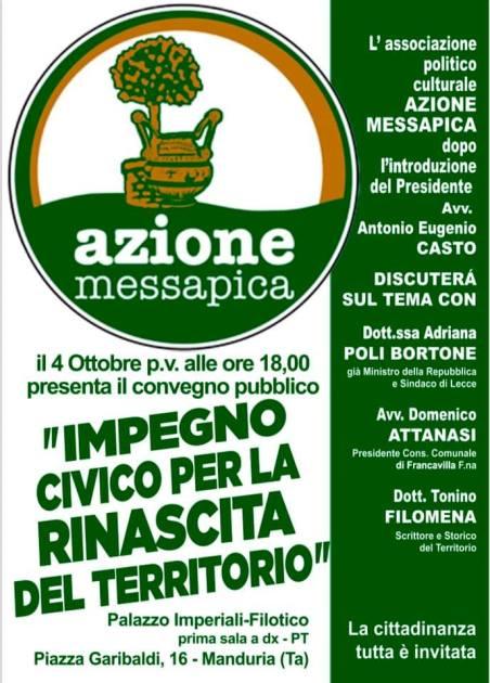 """Manduria: """"Azione Messapica"""" si presenta alla cittadinanza, 4 ottobre convegno pubblico"""