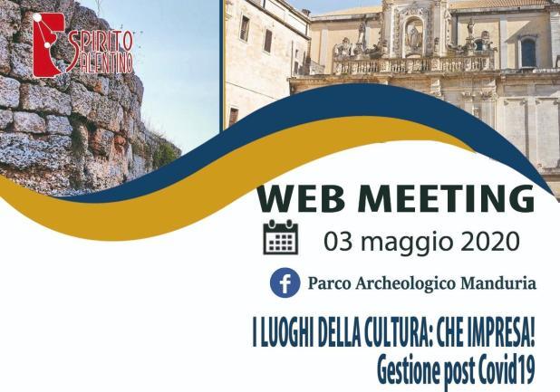 """""""I LUOGHI DELLA CULTURA:CHE IMPRESA! La gestione post Covid-19"""", è un web meeting in programma per Domenica 3 maggio"""