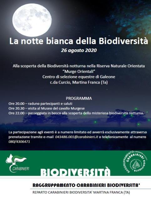 """Martina Franca, mercoledì 26 agosto la """"Notte bianca della Biodiversità"""""""